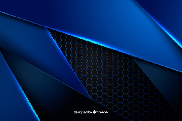 Sfondo di forme blu metallico
