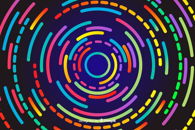 Sfondo di forme circolari al neon geometrico
