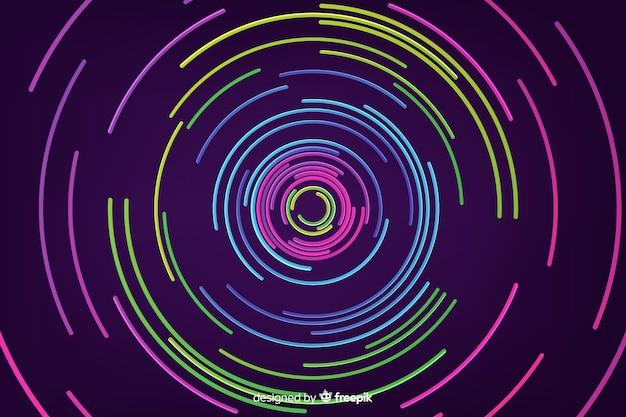 Sfondo di forme geometriche rotonde al neon