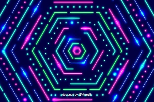 Sfondo di forme poligonali al neon geometrico