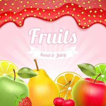 Sfondo di frutta con bordo marmellata di fragole in cima.