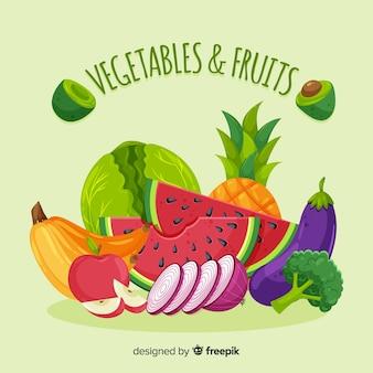 Sfondo di frutta e verdura piatta