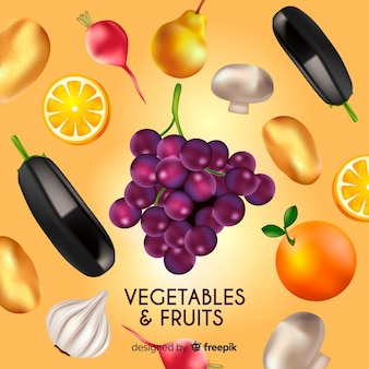Sfondo di frutta e verdura realistico