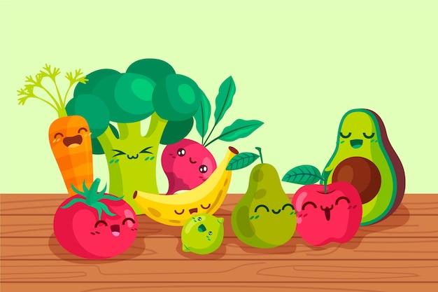 Sfondo di frutta e verdura