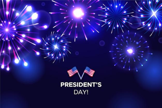 Sfondo di fuochi d'artificio del giorno del presidente