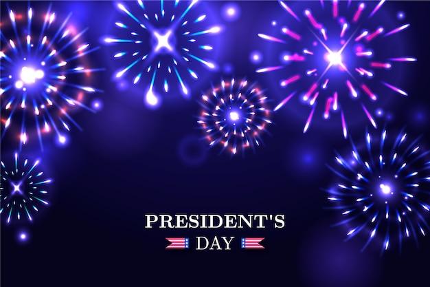 Sfondo di fuochi d'artificio di giorno del presidente con scritte