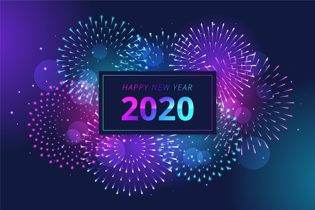Sfondo di fuochi d'artificio nuovo anno 2020