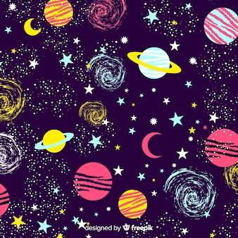 Sfondo di galassia disegnato a mano bella