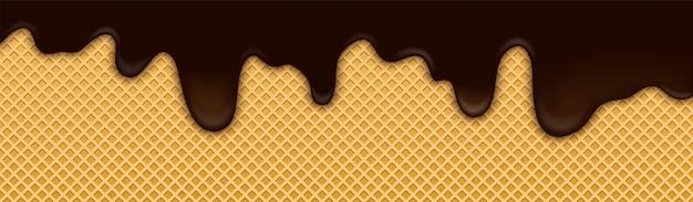 Sfondo di gelato al cioccolato al cacao con wafer