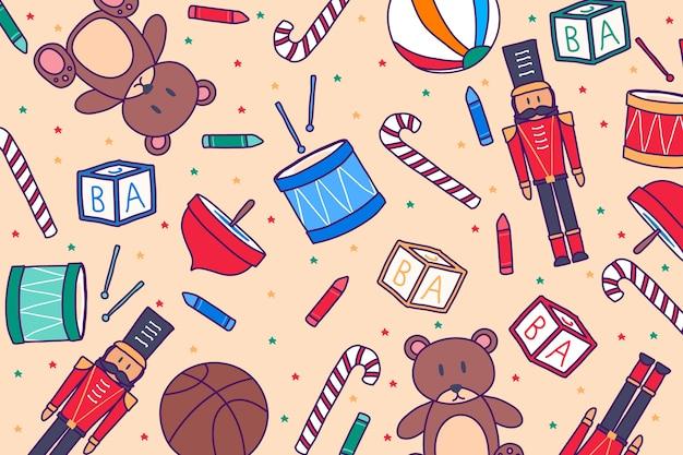 Sfondo di giocattoli di natale disegnati a mano