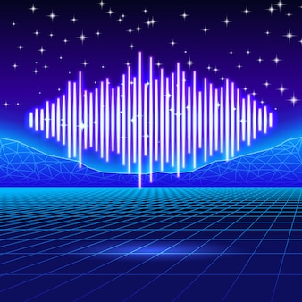 Sfondo di gioco al neon retrò con onda di musica splendente