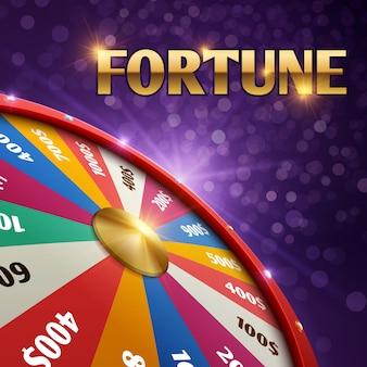 Sfondo di gioco d'azzardo con ruota fortuna fortuna 3d