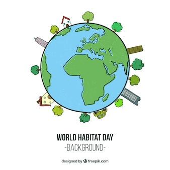 Sfondo di giornata habitat mondo con il mondo disegnato a mano