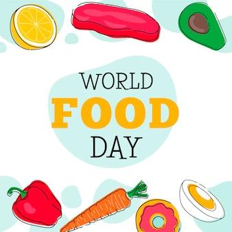 Sfondo di giornata mondiale dell'alimentazione disegnata a mano
