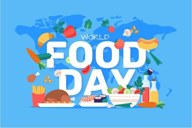 Sfondo di giornata mondiale dell'alimento design piatto con mappa del mondo