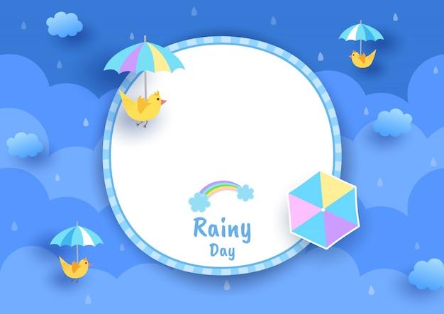 Sfondo di giornata piovosa con ombrello e uccello sul modello di cornice del cerchio