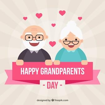Sfondo di giorno dei nonni con coppia bella