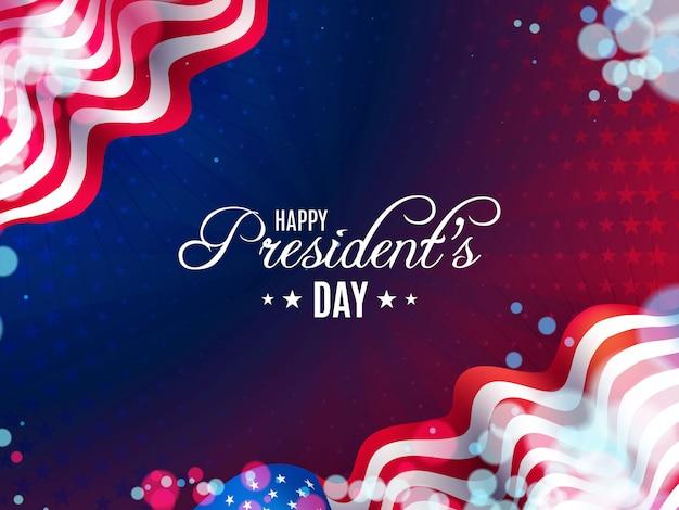 Sfondo di giorno del presidente usa con bandiere ondulate e palloncini