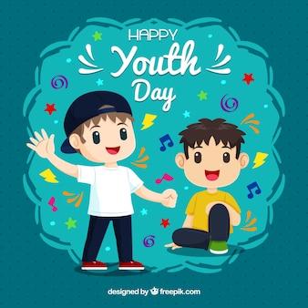 Sfondo di giorno della gioventù con i ragazzi