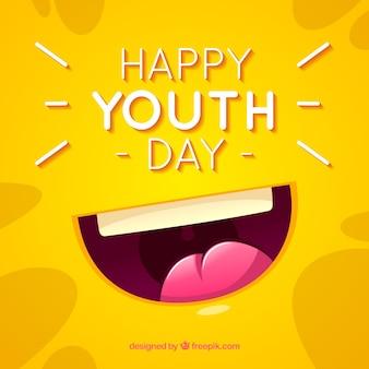 Sfondo di giorno della gioventù con la bocca