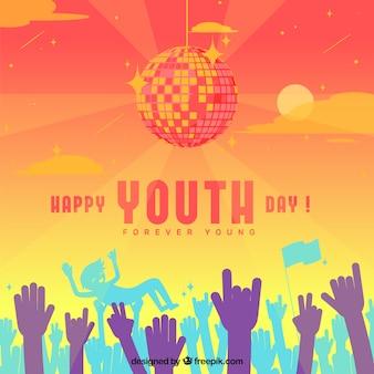 Sfondo di giorno della gioventù con le mani della folla