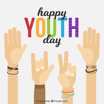 Sfondo di giorno della gioventù con le mani di saluto