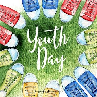 Sfondo di giorno della gioventù con le scarpe