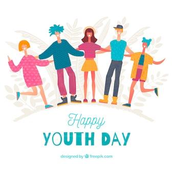 Sfondo di giorno della gioventù con persone felici