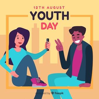 Sfondo di giorno della gioventù design piatto