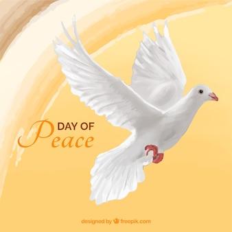 Sfondo di giorno della pace con colomba di acquerello