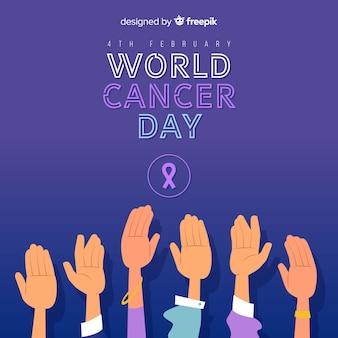 Sfondo di giorno di cancro piatto del mondo