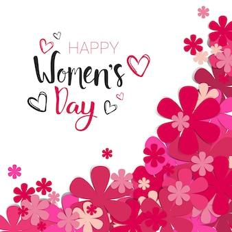 Sfondo di giorno di donne felici con fiori rosa e scritte calligrafia 8 marzo holiday card