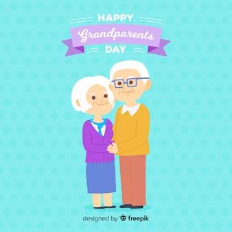 Sfondo di giorno di nonni in design piatto
