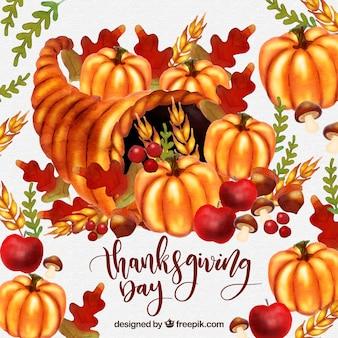 Sfondo di giorno di ringraziamento acquerello con zucche e foglie