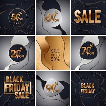 Sfondo di glitter oro vendita nero venerdì. lustro nero oro brilla sfondo. super vendita venerdì logo per banner, web, intestazione e flyer, design.