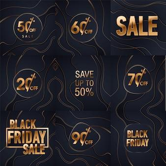 Sfondo di glitter oro vendita nero venerdì. lustro nero oro brilla sfondo.