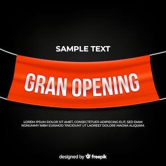 Sfondo di grande apertura con banner in tessuto realistico