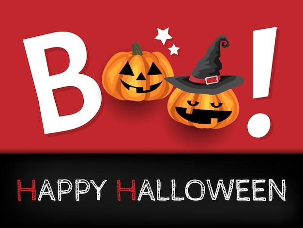 Sfondo di halloween con boo! testo.