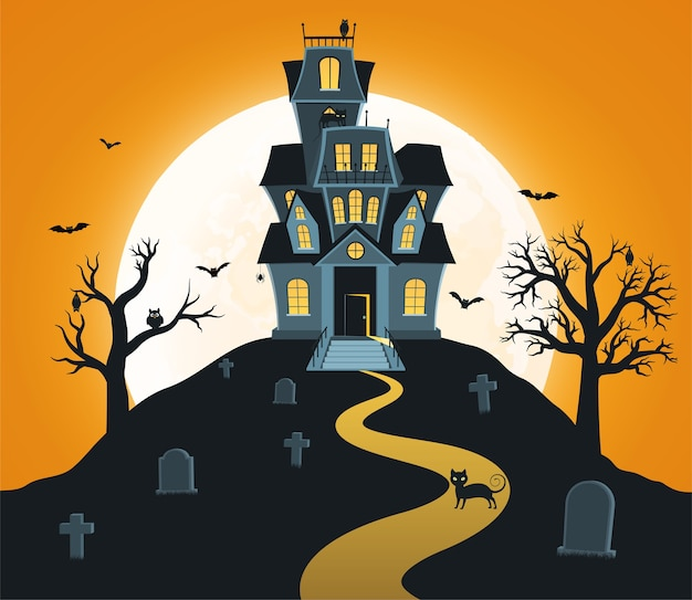 Sfondo di halloween con castello e luna piena, tombe, alberi, pipistrelli.