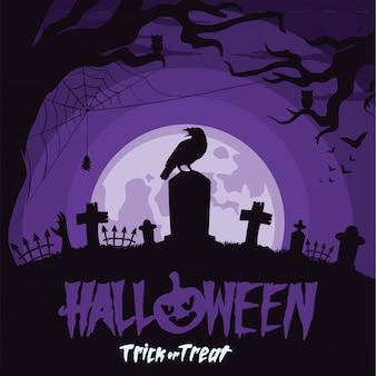Sfondo di halloween con corvo al cimitero