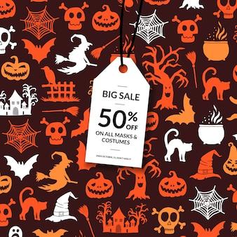 Sfondo di halloween con etichetta di vendita bianco