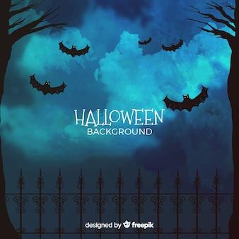 Sfondo di halloween con foresta e pipistrelli
