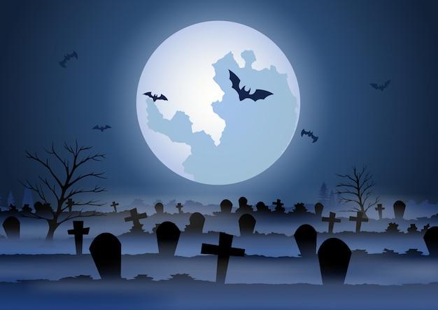 Sfondo di halloween con il cimitero