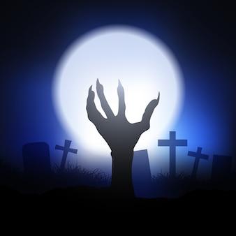 Sfondo di halloween con la mano di zombie