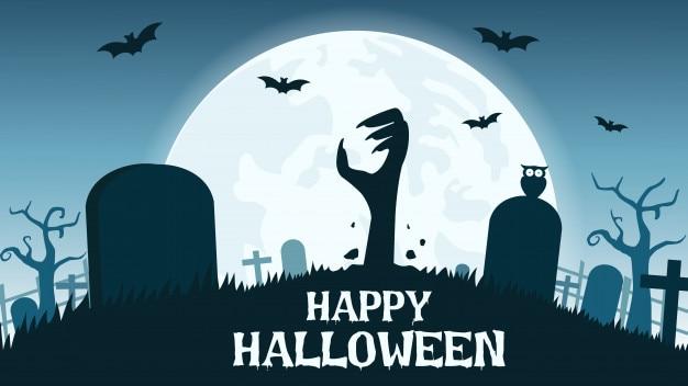 Sfondo di halloween con le mani di zombie