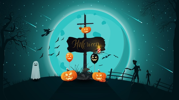 Sfondo di halloween con paesaggio notturno, luna piena sopra la collina, vecchia insegna in legno con annesso zucca jack