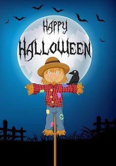 Sfondo di halloween con un corvo appollaiato sullo spaventapasseri