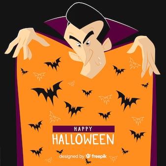 Sfondo di halloween con vampiri e pipistrelli
