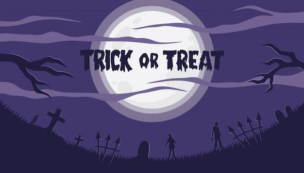 Sfondo di halloween con zombie al cimitero