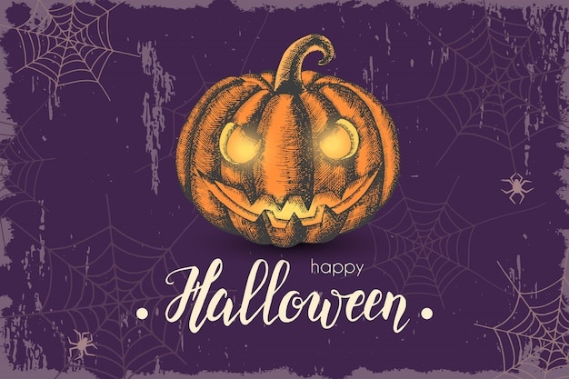 Sfondo di halloween con zucca disegnata a mano e scritte alla moda fatte a mano